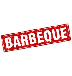 barbeque red square grunge stamp on white vector image vector image
