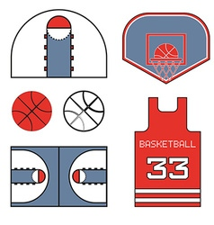 Basketball red items vector