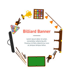Billiard game equipment banner card circle vector