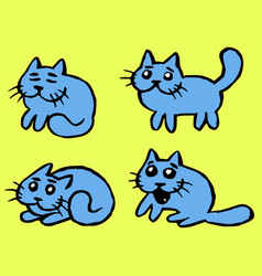 blue cats emoticons set isolated vector image vector image