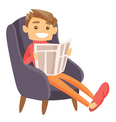 caucasian man sitting in armchair with newspaper vector image