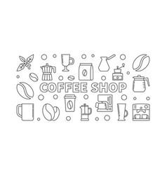 Coffee shop horizontal in line vector