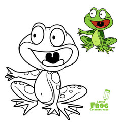 Cute cartoon frog color and outlined on a white vector