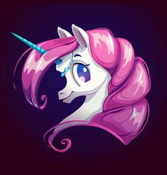 Cute cartoon unicorn with pink hair vector