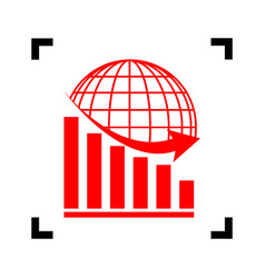 declining graph with earth red icon vector image