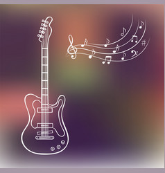 electric guitar and music notes on blurred vector image vector image