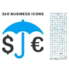 Financial protection icon with flat set vector