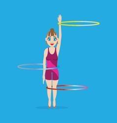Girl gymnast with hoop vector