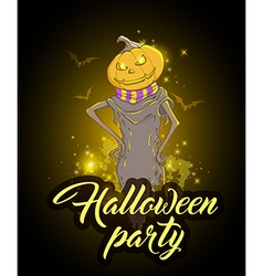 Halloween background with scary pumpkin vector image