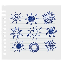 Hand-draw sun set vector image