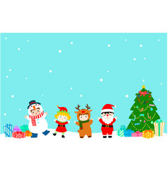 joyful kids with christmas costumes background vector image vector image
