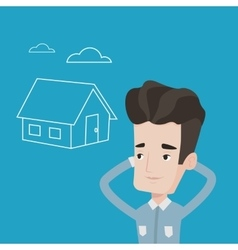 Man dreaming about buying new house vector image vector image