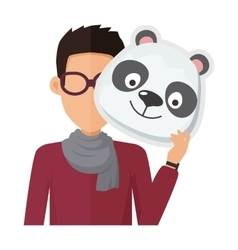 Man without face in glasses with panda mask vector