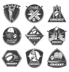 Monochrome vintage cricket sport labels set vector