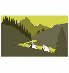 mountain camp vector image