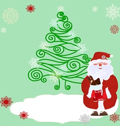 Openwork christmas tree and santa vector