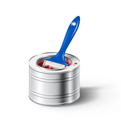 Paint can with red color and brush vector