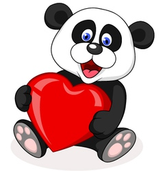 Panda with red heart vector