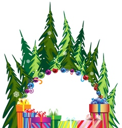 Pine forest and Christmas presents vector image