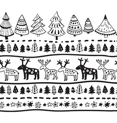 seamless pattern with hand drawn christmas vector image vector image