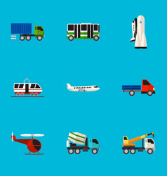 Set of 9 editable automobile flat icons includes vector