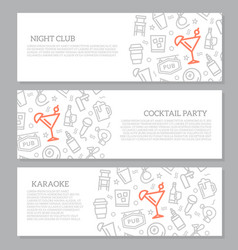 set of three digital night club and cocktail bar vector image vector image