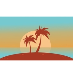 Silhouette of beach with big sun landscape vector
