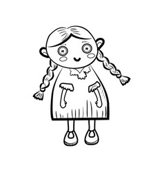 Sketch doll icon vector