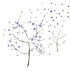 The Art tree with blue leaves fall vector image