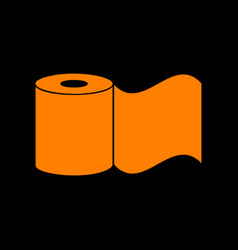 Toilet paper sign orange icon on black background vector