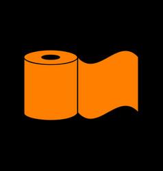 toilet paper sign orange icon on black background vector image