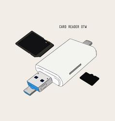 usb card reader hand draw sketch vector image