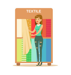 Woman choosing textile drapers smiling shopper in vector