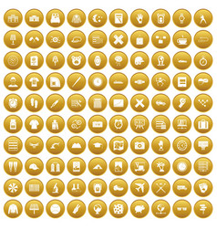 100 time icons set gold vector