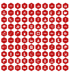100 water icons hexagon red vector