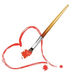 Paintbrush and Red Heart2 vector image