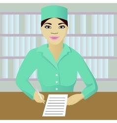 Nurse on post vector image