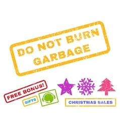 Do not burn garbage rubber stamp vector