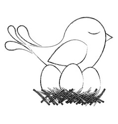 Monochrome sketch of bird in nest with eggs vector