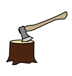 Lumberjack axe stuck in tree trunk vector