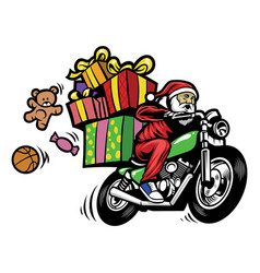 Santa claus delivering the christmas gift by vector