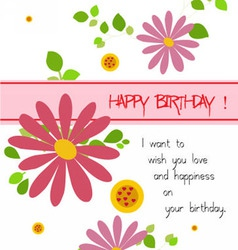 Happy birthday with flowers vector