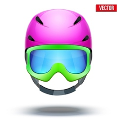 Front view of classic pink ski helmet and green vector