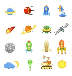 Space icons set of rocket galaxy planet ufo vector