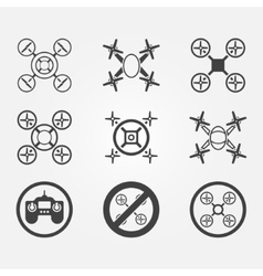 Quadrocopter icons set vector