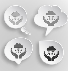 Weather in hands white flat buttons on gray vector