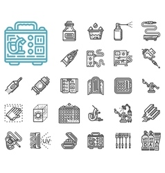 Tattoo items line icons set vector