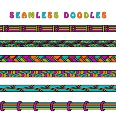 Colored seamless doodle border line vector