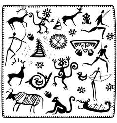 Set elements african petroglyph art vector