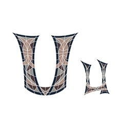 Low poly letter U in brown mosaic polygon vector image